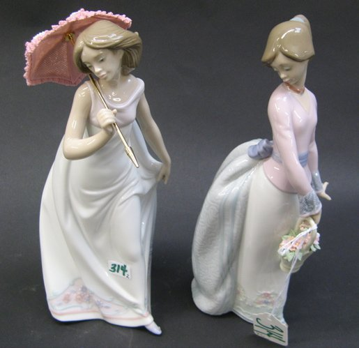 "314: TWO SPANISH LLADRO GLAZED PORCELAIN FIGURES: ""Aft"