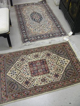 319: TWO HAND KNOTTED ORIENTAL AREA RUGS, Pakistani-Pe