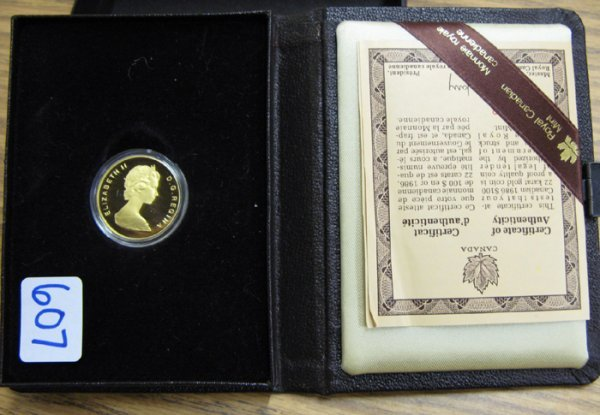 607: 1986 CANADIAN PEACE $100 GOLD PROOF COIN.  This  G