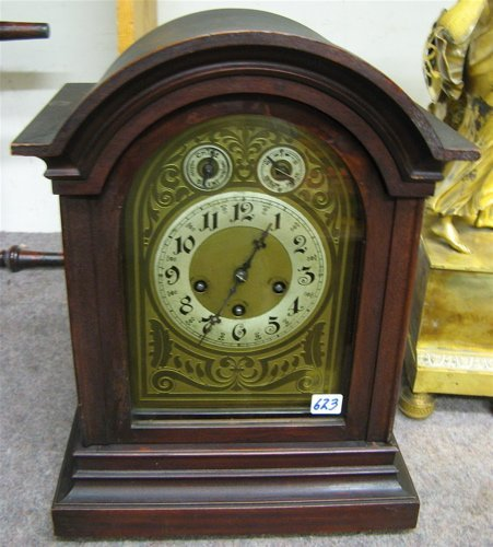 623: MAHOGANY BRACKET CLOCK, Junghans Clock Co.,  Germa
