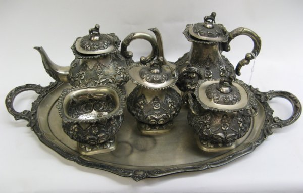 775: CONTINENTAL FIVE-PIECE SILVER PLATED TEA AND  COFF