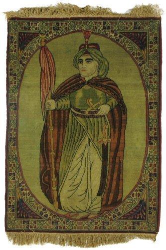 616: SEMI-ANTIQUE PICTORIAL PERSIAN WALL RUG, portrait