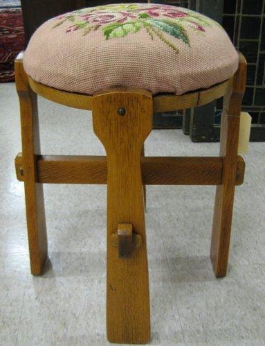 18: NEEDLEPOINT AND OAK STOOL, American Arts &  Crafts,