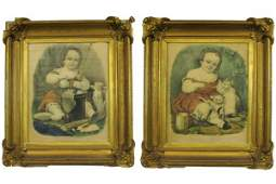 206 TWO CURRIER AND IVES COLOR LITHOGRAPHS  Kittys B