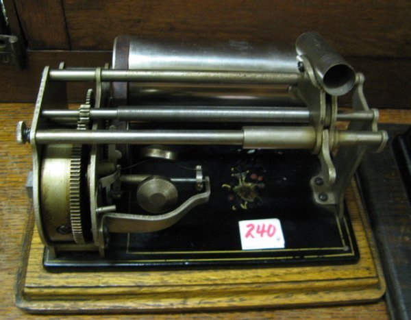 "240: FOUR SMALL CYLINDER PHONOGRAPHS: two Edison  ""Gem"""