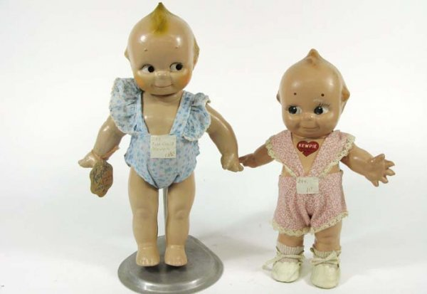 301: TWO ROSE O'NEILL KEWPIE DOLLS, all composition,  1