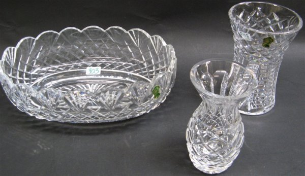 303: THREE IRISH WATERFORD CUT CRYSTAL TABLE  ACCESORIE