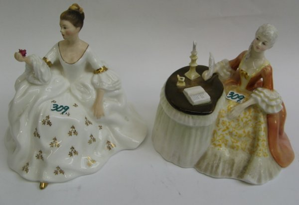 "309: TWO ROYAL DOULTON GLAZED PORCELAIN FIGURES:  ""Medi"