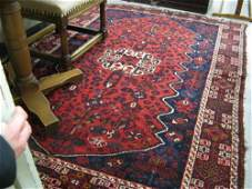 0395A PERSIAN SHIRAZ AREA RUG floral and central  geo