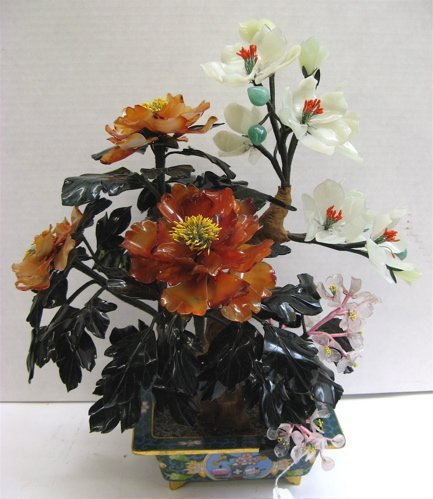 """602: A CHINESE CARVED """"JADE"""" TREE with flowering  branc"""