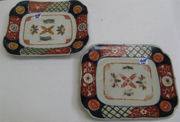 608: TWO JAPANESE IMARI PORCELAIN SERVING PLATTERS,  ha