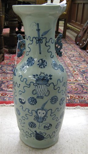 609: CHINESE GLAZED POTTERY FLOOR VASE. Hand painted  u