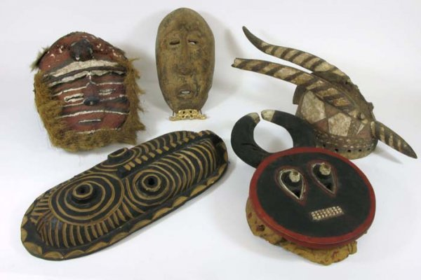 618: AFRICAN HAND CARVED WOODEN MASKS AND HEADDRESS