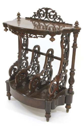 623: VICTORIAN WALNUT AND BURL WALNUT CANTERBURY  TABLE