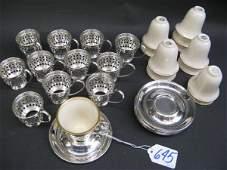645 SET OF 12 LENOX PORCELAIN DEMITASSE CUPS fitted i