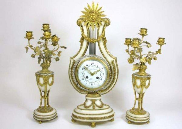 792: THREE-PIECE ORMOLU & WHITE MARBLE CLOCK SET