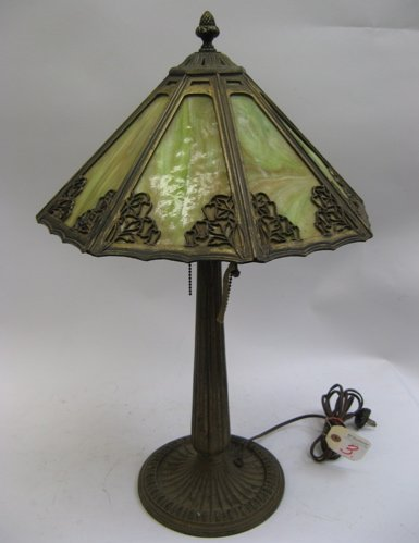 3: BRADLEY AND HUBBARD TABLE LAMP. The gilt metal  pede