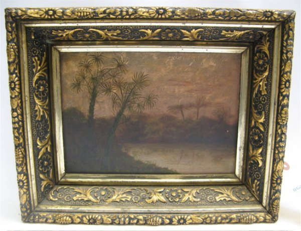 6: PAIR AMERICAN OILS ON PANEL, c. 1880. Landscapes: bo