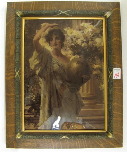 14: A CRYSTOLEUM* PAINTING OF A YOUNG WOMAN in  Victori