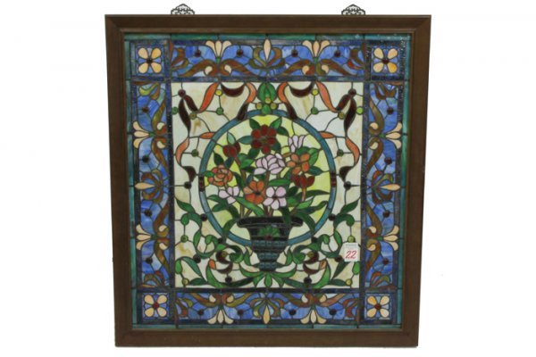 22: AN AMERICAN STAINED AND LEADED GLASS WINDOW  center