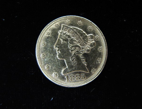 24: U.S. FIVE DOLLAR GOLD COIN, Liberty head type,  188