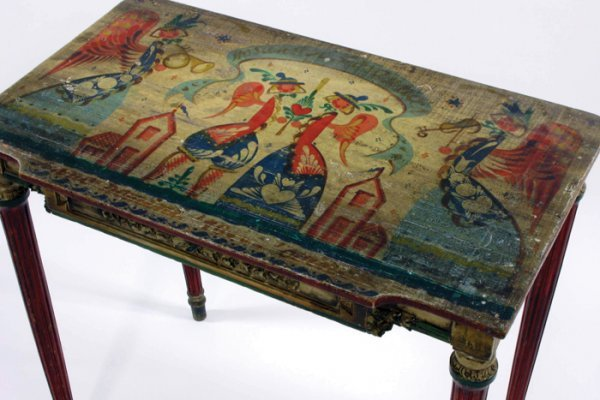 25: PAINT DECORATED FOLK ART CONSOLE TABLE
