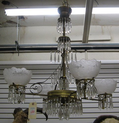 120: VICTORIAN ELECTRIFIED GAS CHANDELIER, American,  c