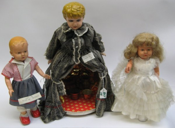 307: THREE COLLECTIBLE DOLLS: two are mechanical  walke