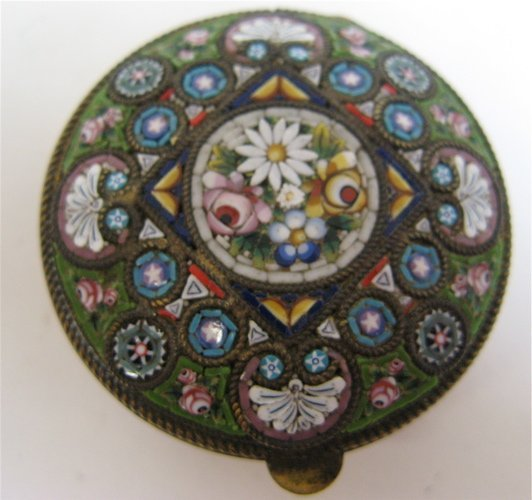317: FRENCH ENAMELED MOSAIC PILLBOX, the hinged lid  wi