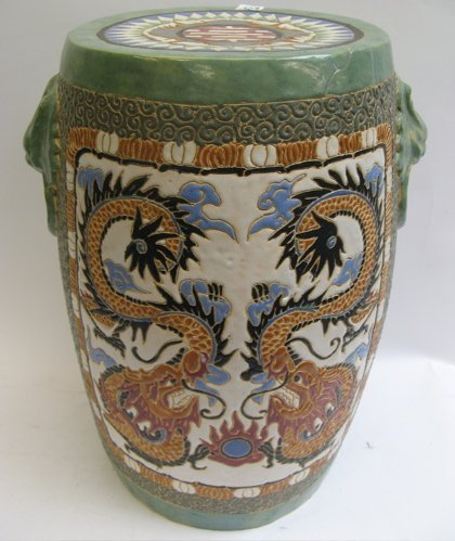 523: TWO CHINESE PORCELAINS: garden stool, hand  enamel