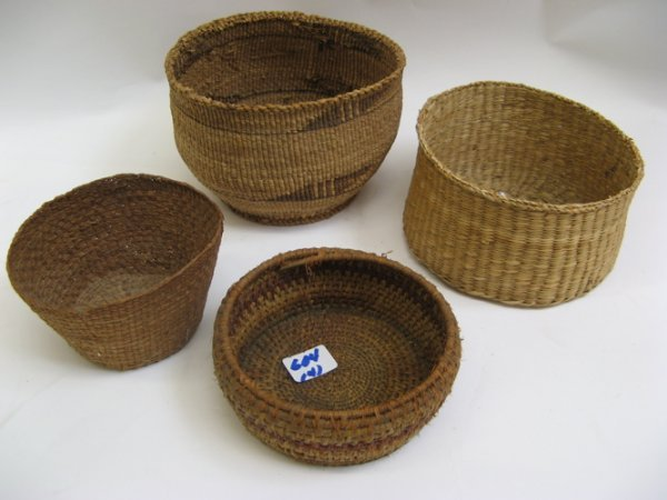 604: FOUR AMERICAN INDIAN HAND WOVEN BASKETS: a  Paiute