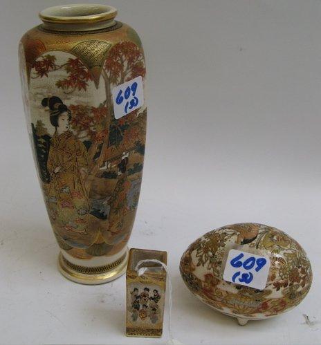 609: THREE PIECES JAPANESE SATSUMA POTTERY, hand  paint
