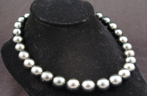 613: BLACK SOUTH SEA PEARL NECKLACE WITH APPRAISAL