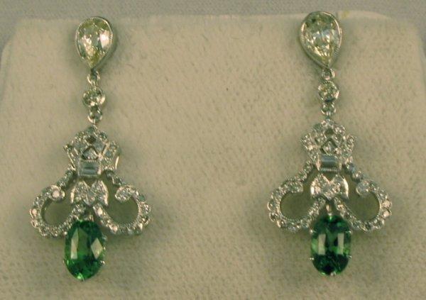 614: GREEN TSAVORITE GARNET & DIAMOND EARRINGS