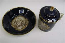 825: MEISSEN TREMBLEUSE CUP, COVER AND SAUCER,  crossed