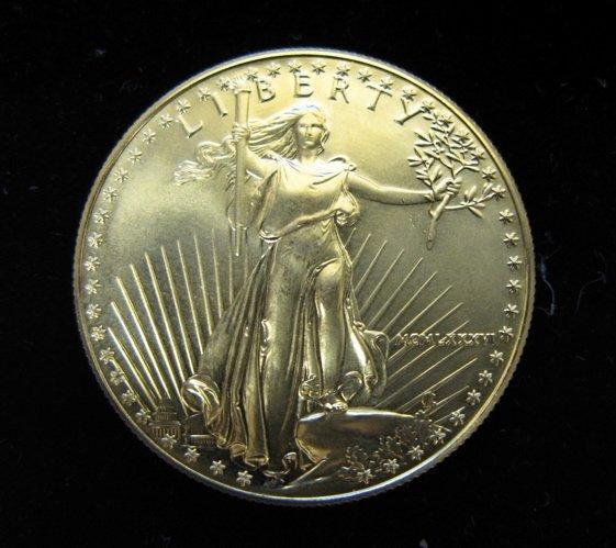 3: 1986 GOLD AMERICAN EAGLE COIN, $50 denomination, a 1
