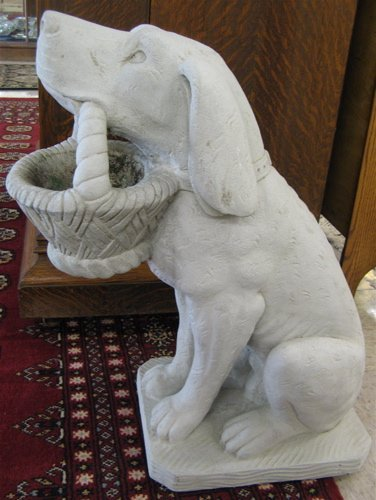 16: PAIR OF GARDEN FIGURES, each a dog in seated  pose