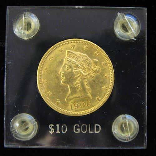 19: U.S. TEN DOLLAR GOLD COIN, Liberty head type,  1906