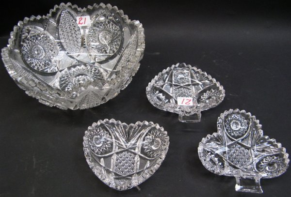 21: AMERICAN CUT CRYSTAL FRUIT BOWL AND 3 NAPIES,  from