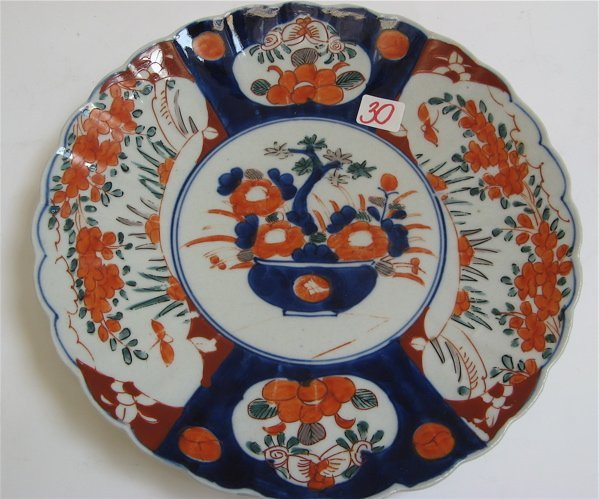 30: A JAPANESE IMARI 19TH C. PORCELAIN CHARGER, the  fa
