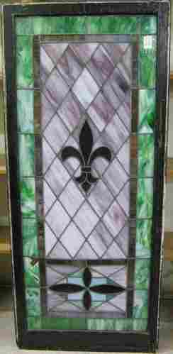 VICTORIAN STAINED & LEADED GLASS WINDOW, American