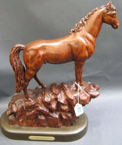 """302: HAND CARVED MAHOGANY SCULPTURE titled  """"The Sentin"""