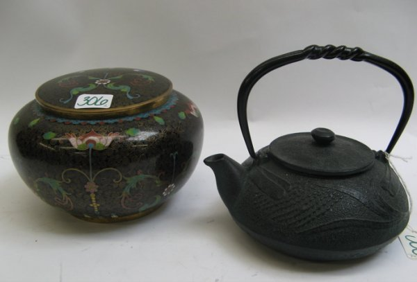 306: TWO CHINESE ART OBJECTS. One a covered Cloisonne b