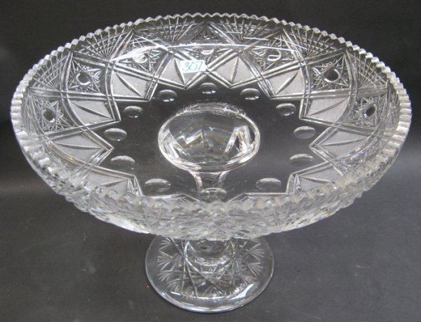 307: HEAVY CRYSTAL FRUIT COMPOTE, hand cut and  engrave