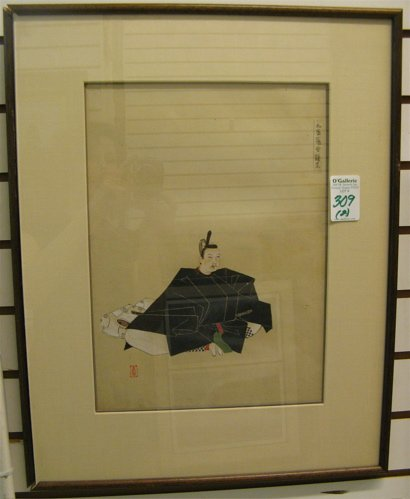 309: TWO JAPANESE COLOR WOODCUTS: the first a  simplist