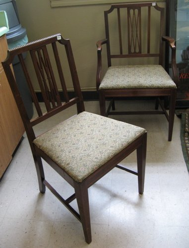 516: SET OF SIX DINING CHAIRS, Sheraton style,  America