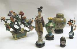 """0554A: CHINESE CLOISONNE ART OBJECTS AND A """"JADE"""" TREE."""