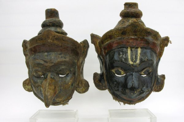 603: TWO LARGE SIAMESE (THAILAND) HAND MADE MASKS.  Tex