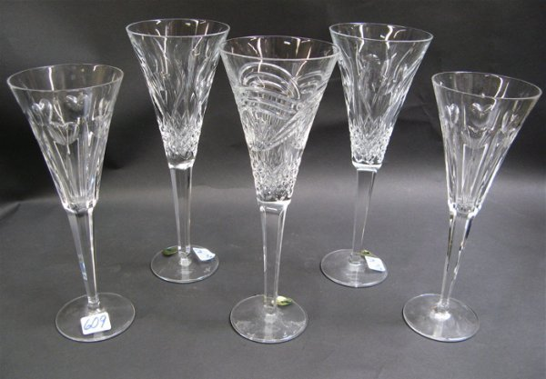 609: GROUP OF 5 IRISH WATERFORD CUT CRYSTAL FLUTES, in3