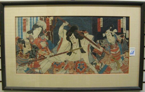 618: UTAGAWA KUNISADA I COLOR  WOODCUT TRIPTYCH
